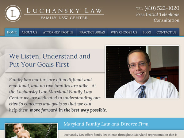 Mobile Friendly Law Firm Webiste for Luchansky Law - Maryland Family Law Center