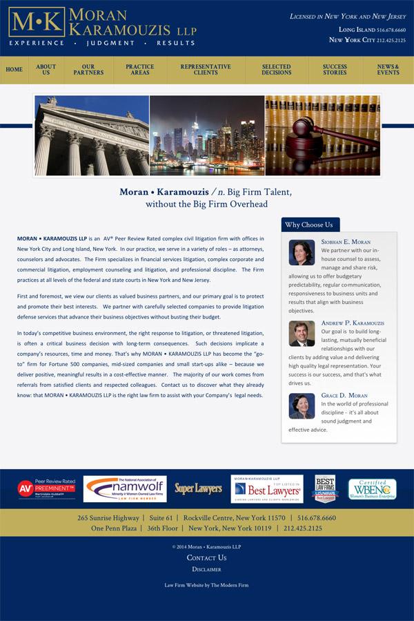Law Firm Website Design for Moran • Karamouzis LLP
