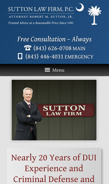 Responsive Mobile Attorney Website for Sutton Law Firm, P.C.