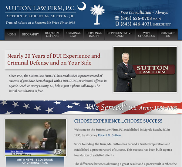 Mobile Friendly Law Firm Webiste for Sutton Law Firm, P.C.