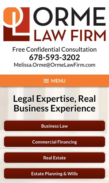 Responsive Mobile Attorney Website for Orme Law Firm