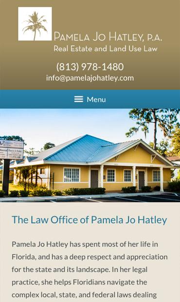 Responsive Mobile Attorney Website for Pamela Jo Hatley, P.A.