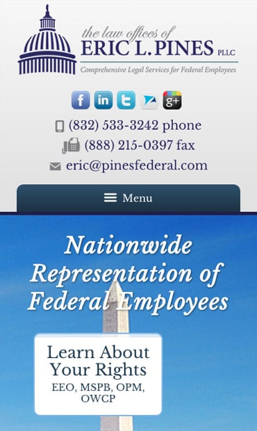 Responsive Mobile Attorney Website for Law Offices of Eric L. Pines, PLLC