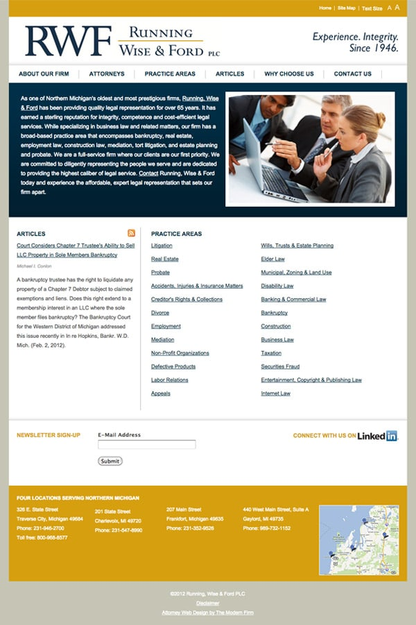 Law Firm Website Design for Running, Wise & Ford PLC