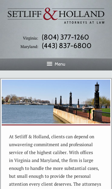 Responsive Mobile Attorney Website for Setliff & Holland, P.C.