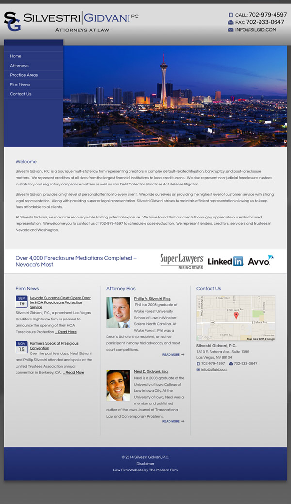 Law Firm Website for Silvestri Gidvani, P.C.