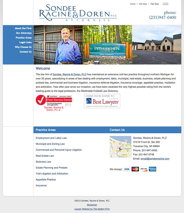 Law Firm Website Design for Sondee, Racine & Doren, PLC