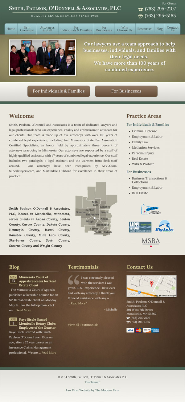 Law Firm Website Design for Smith, Paulson, O'Donnell & Associates, PLC