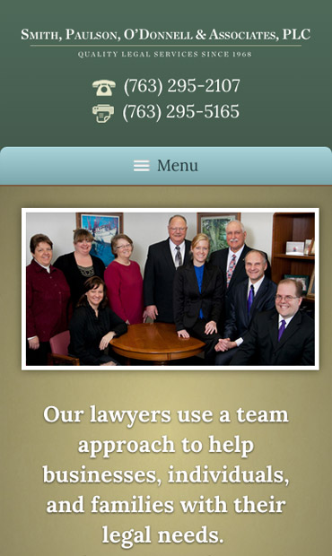 Responsive Mobile Attorney Website for Smith, Paulson, O'Donnell & Associates, PLC