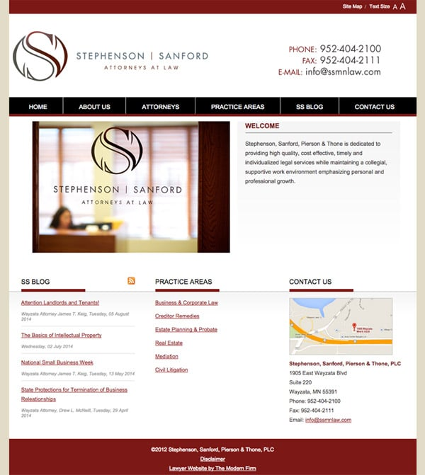 Law Firm Website for Stephenson, Sanford, Pierson & Thone, PLC