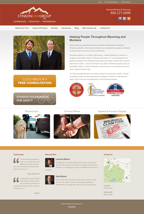Law Firm Website Design for Stinson Law Group, P.C.