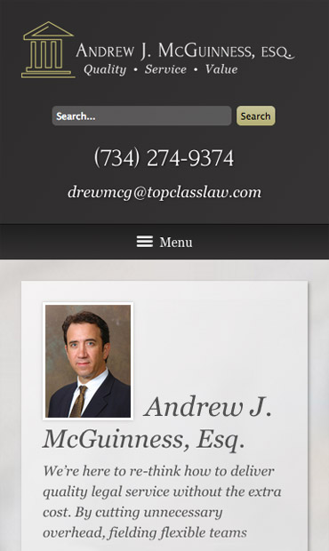 Responsive Mobile Attorney Website for Andrew J. McGuinness, Esq.