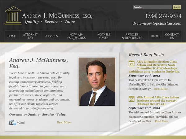 Mobile Friendly Law Firm Webiste for Andrew J. McGuinness, Esq.