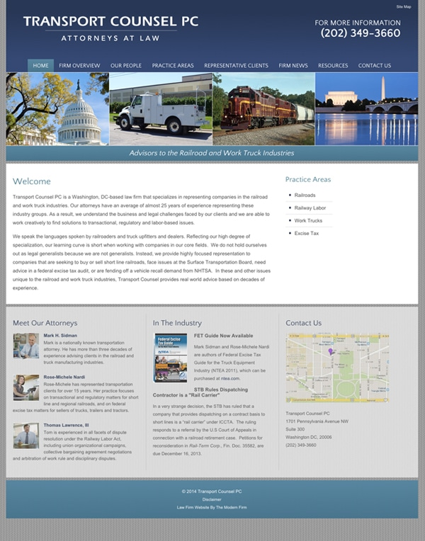 Law Firm Website Design for Transport Counsel PC