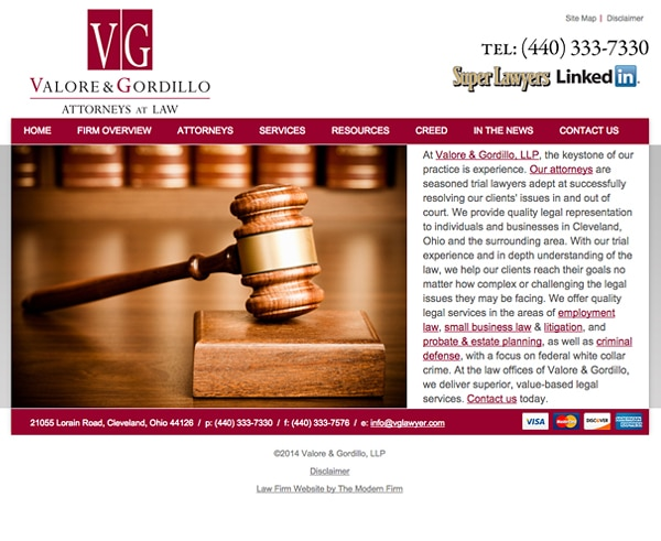 Law Firm Website for Valore & Gordillo, LLP