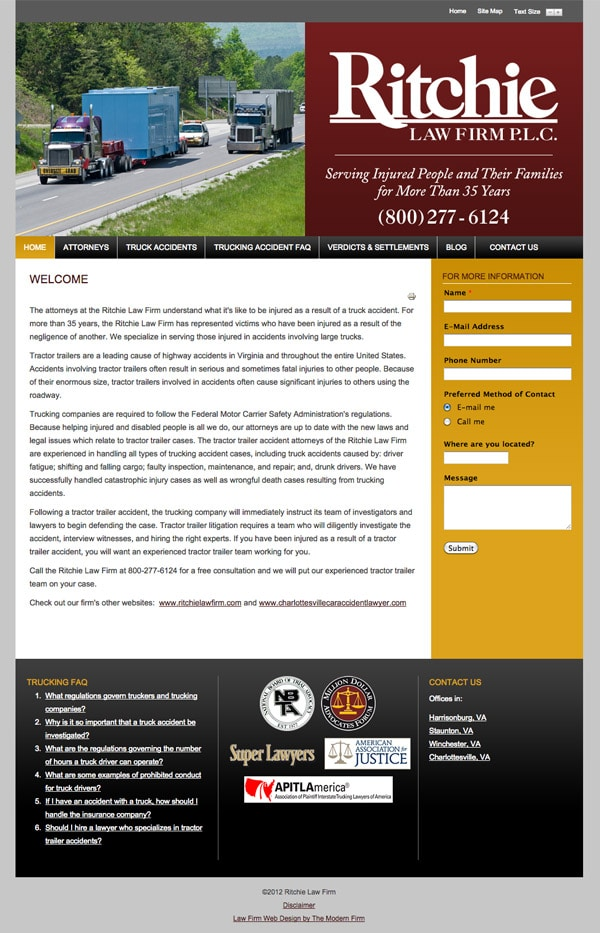 Law Firm Website for Ritchie Law Firm, P.L.C.
