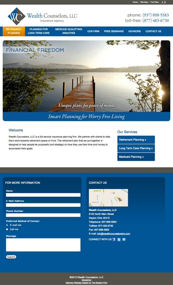 Law Firm Website Design for Wealth Counselors, LLC