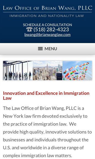 Responsive Mobile Attorney Website for Law Office of Brian Wang, PLLC