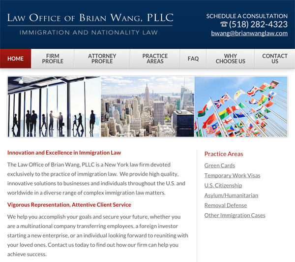 Mobile Friendly Law Firm Webiste for Law Office of Brian Wang, PLLC