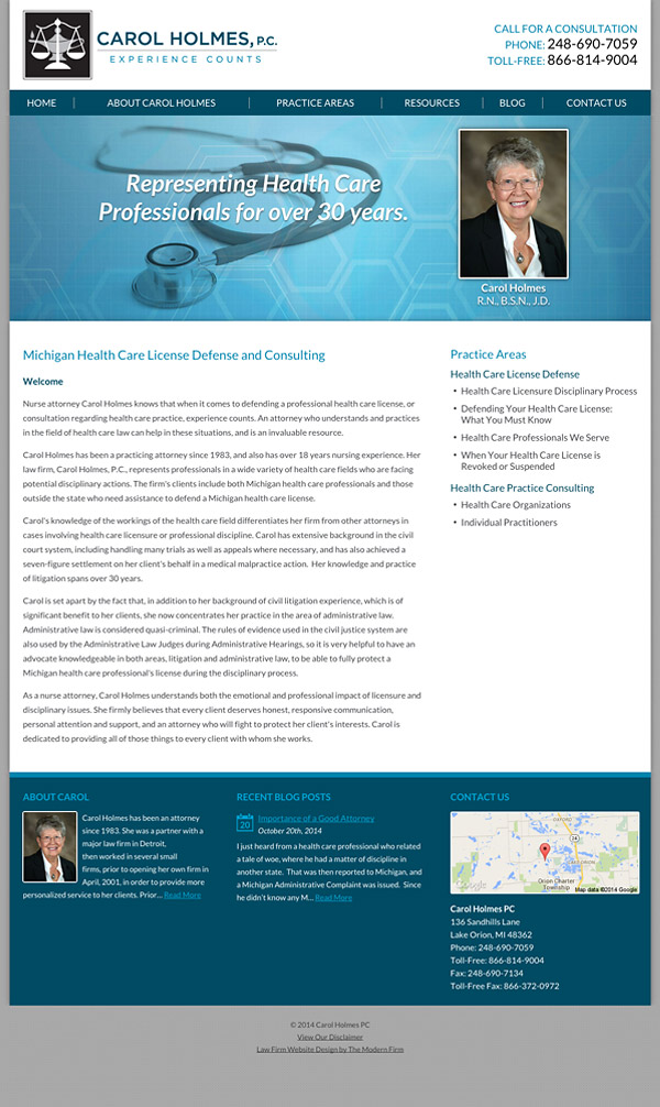 Law Firm Website Design for Carol Holmes, P.C.