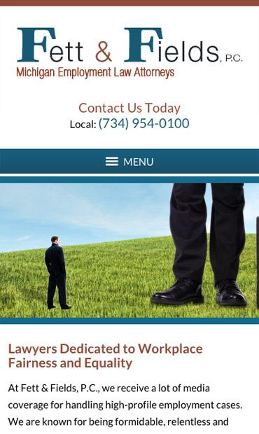 Responsive Mobile Attorney Website for Fett & Fields, P.C.