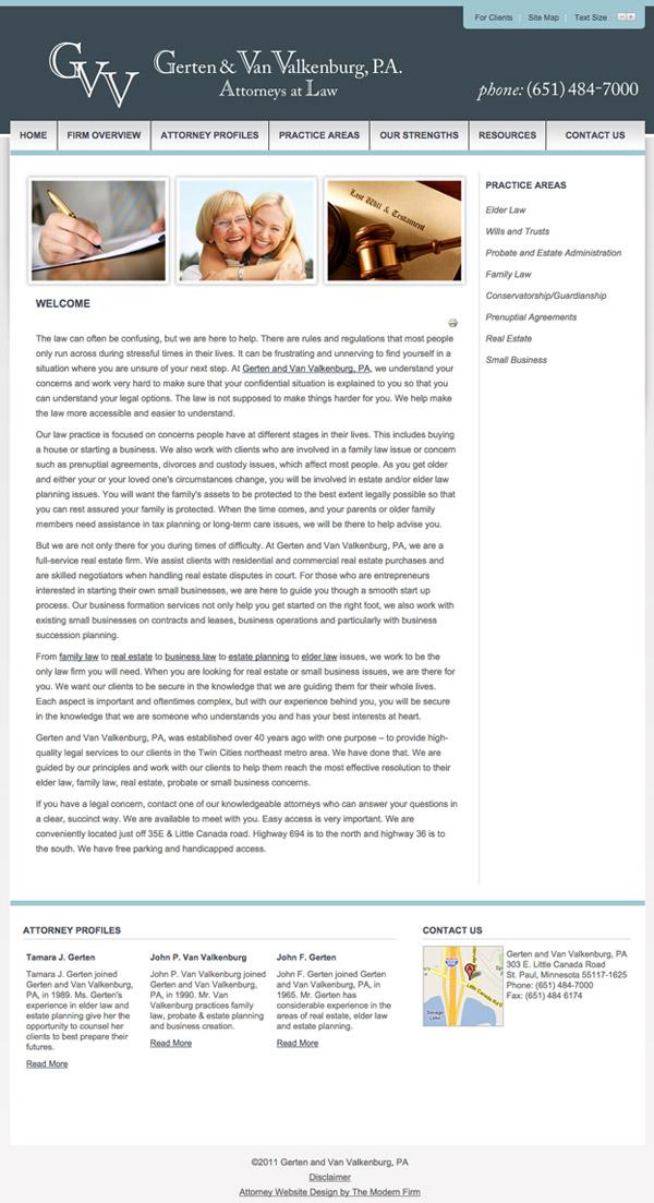 Law Firm Website Design for Gerten and Van Valkenburg, P.A.