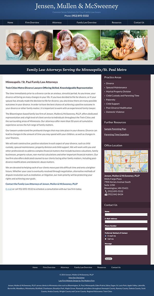 Law Firm Website Design for Jensen, Mullen & McSweeney