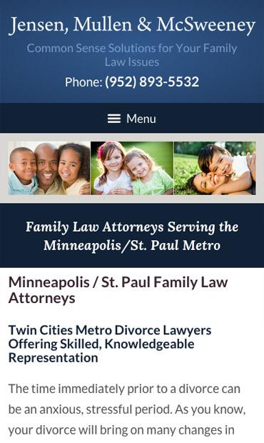 Responsive Mobile Attorney Website for Jensen, Mullen & McSweeney