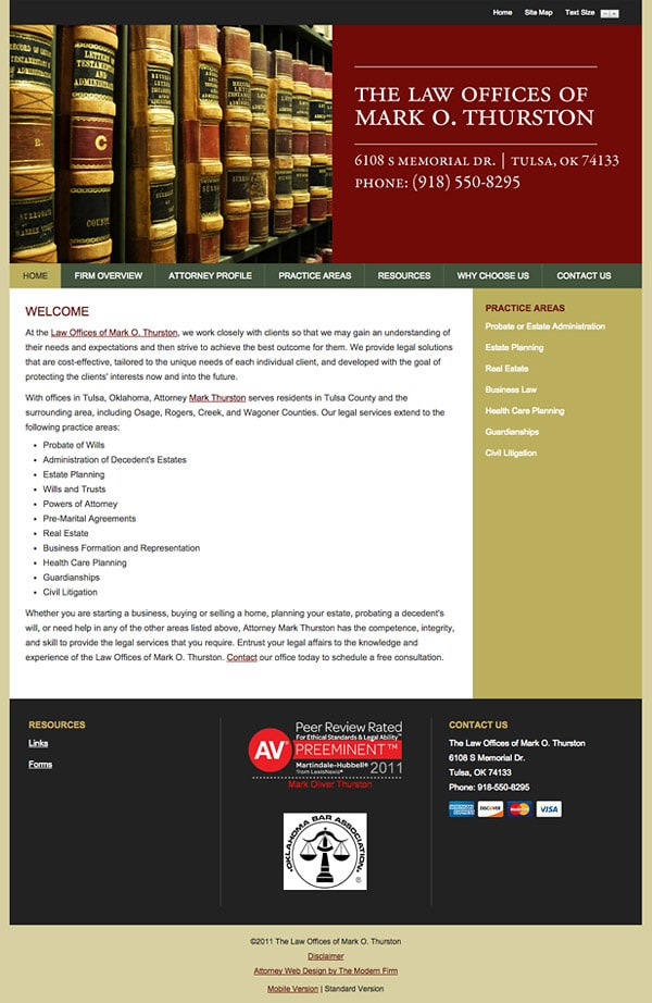 Law Firm Website Design for The Law Offices of Mark O. Thurston