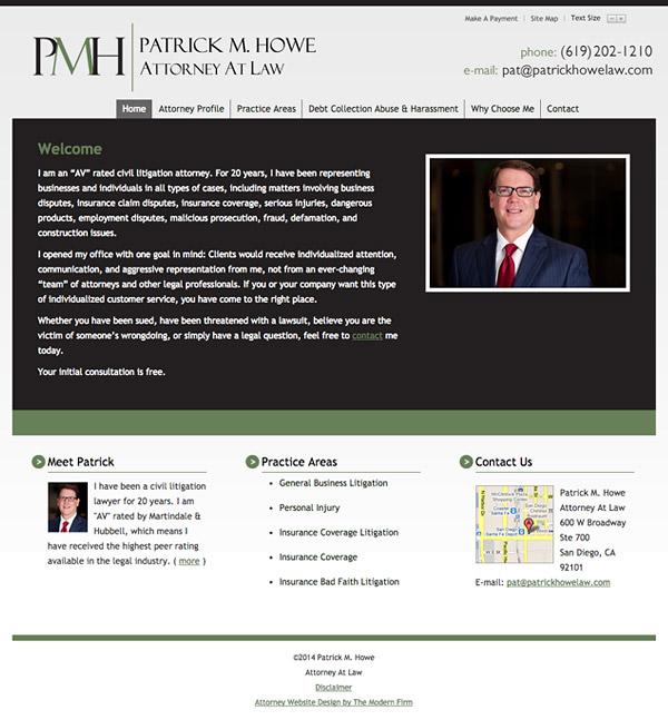 Law Firm Website Design for Patrick M. Howe