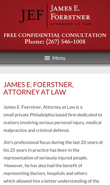 Responsive Mobile Attorney Website for James E. Foerstner, Attorney at Law