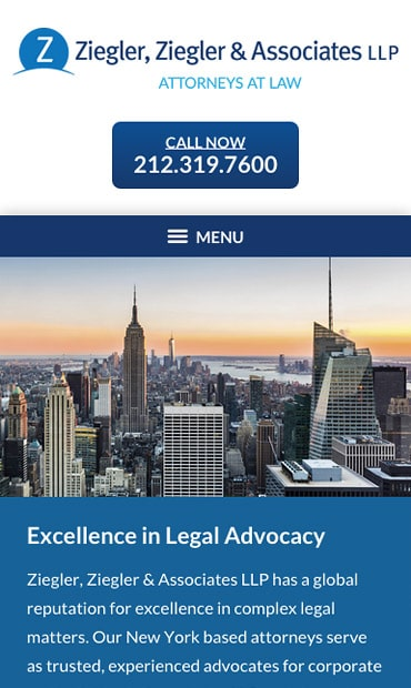Responsive Mobile Attorney Website for Ziegler, Ziegler & Associates LLP