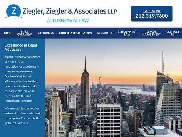 Mobile Friendly Law Firm Webiste for Ziegler, Ziegler & Associates LLP