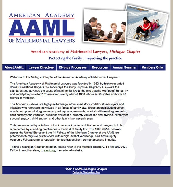 Law Firm Website Design for American Academy of Matrimonial Lawyers