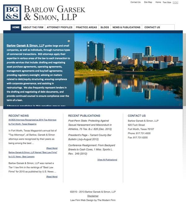 Law Firm Website Design for Barlow Garsek & Simon, LLP