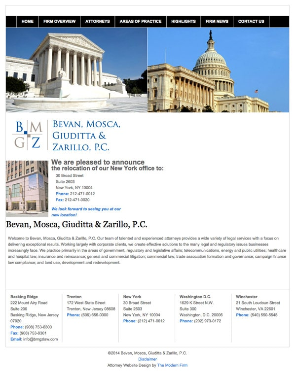 Law Firm Website Design for Bevan, Mosca, Giuditta & Zarillo, P.C.