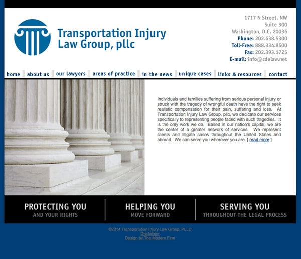 Law Firm Website for Transportation Injury Law Group, PLLC