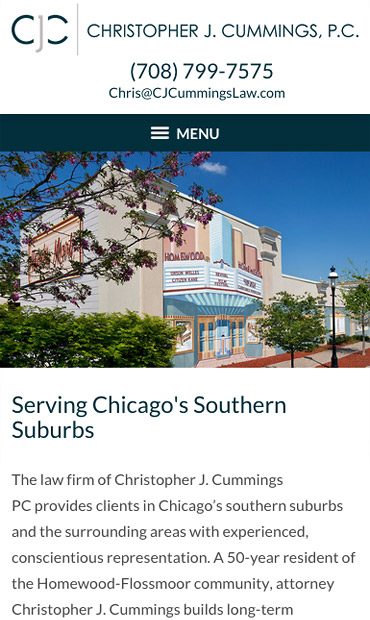 Responsive Mobile Attorney Website for Christopher J. Cummings PC