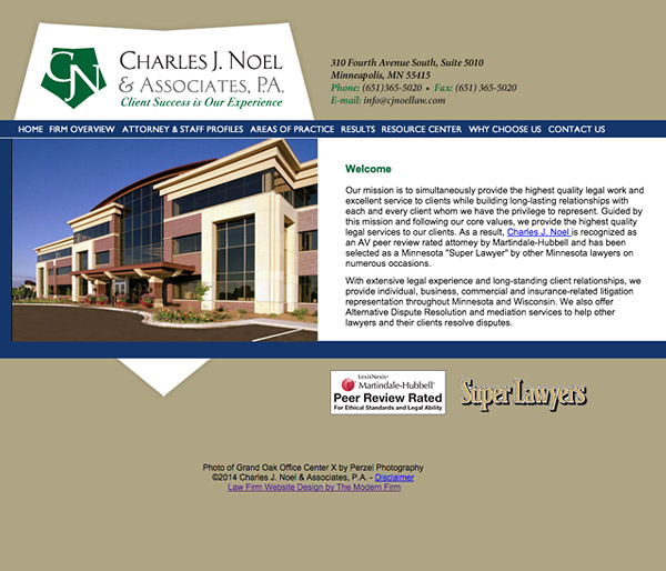 Law Firm Website Design for Charles J. Noel & Associates, P.A.