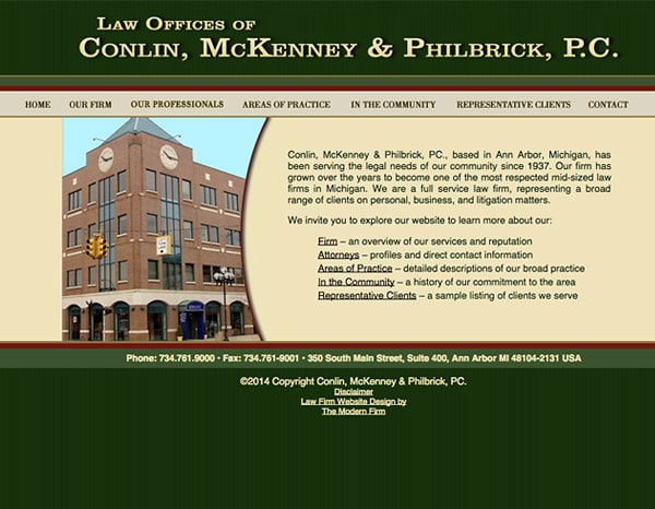 Law Firm Website Design for Conlin, McKenney & Phillbrick, PC