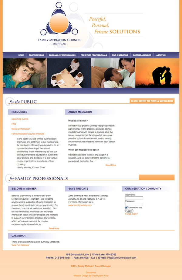 Law Firm Website Design for Family Mediation Council of Michigan