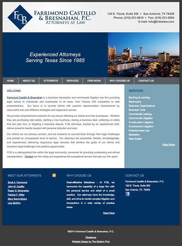 Law Firm Website Design for Farrimond Castillo & Bresnahan, P.C.