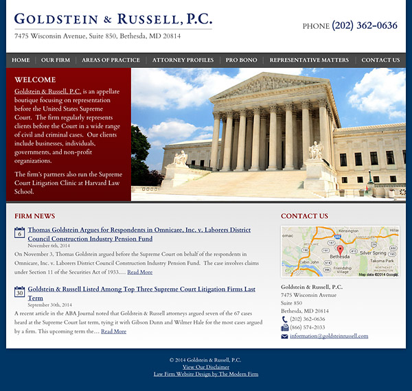 Law Firm Website Design for Goldstein & Russell, P.C.