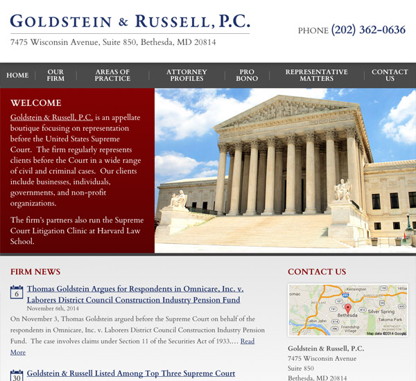 Mobile Friendly Law Firm Webiste for Goldstein & Russell, P.C.
