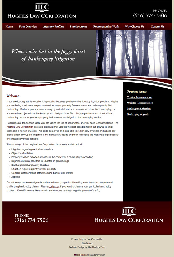 Law Firm Website Design for Hughes Law Corporation
