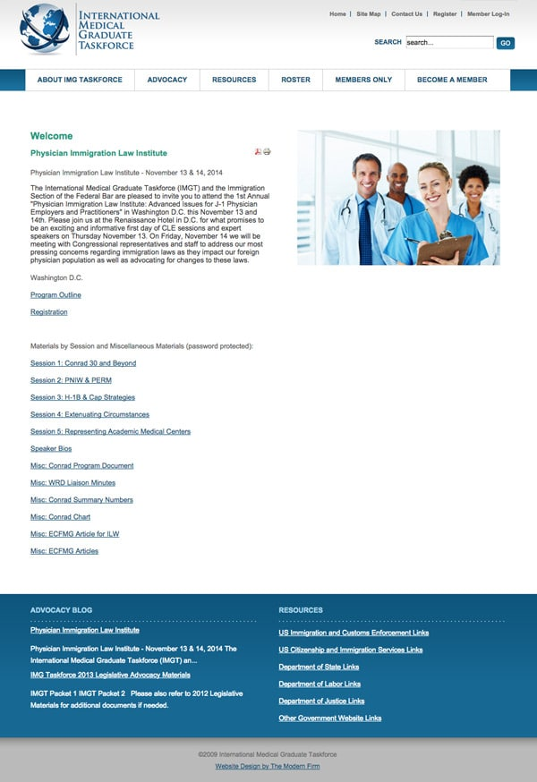 Law Firm Website Design for International Medical Graduate Taskforce