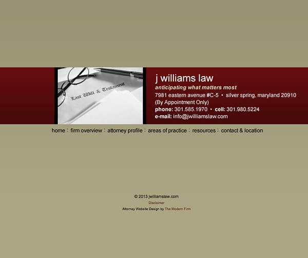 Law Firm Website Design for J Williams Law