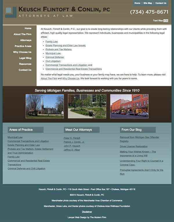 Law Firm Website Design for Keusch, Flintoft & Conlin, PC