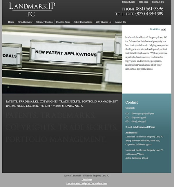Law Firm Website Design for Landmark Intellectual Property Law, PLLC