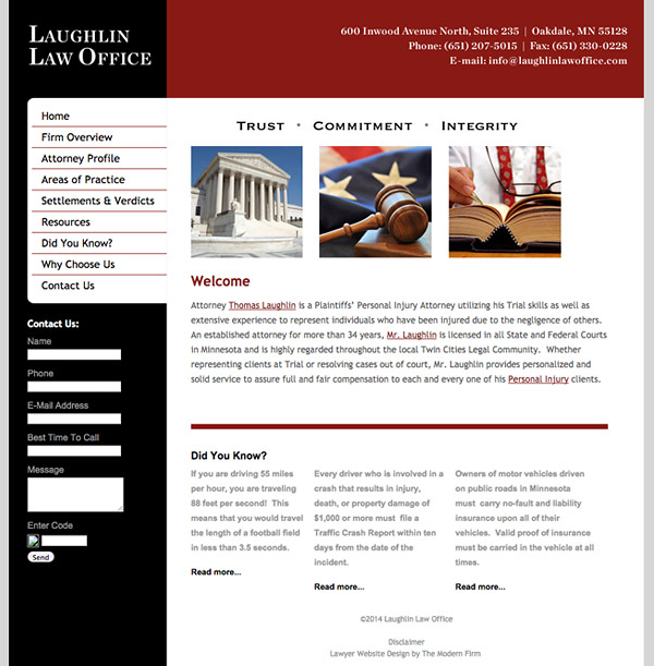 Law Firm Website Design for Laughlin Law Office